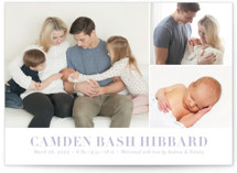 This is a purple birth announcement by Shari Margolin called Sweet Grid with standard printing on smooth signature in standard.