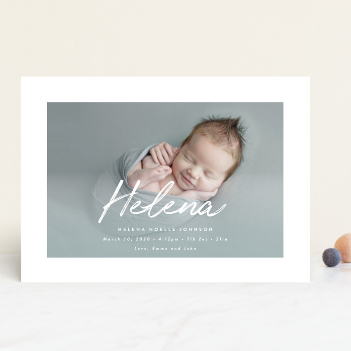 """Helena"" - Modern Birth Announcements in Pearl by Lisa Assenmacher."