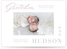This is a grey birth announcement by Hooray Creative called Twice the Blessings with standard printing on signature in standard.