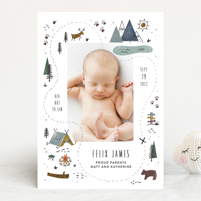 """""""Our Adventure"""" - Whimsical & Funny Birth Announcements in Blue Spruce by Jamie Bartlett."""