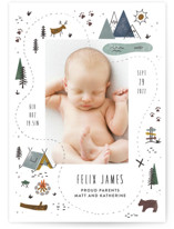 This is a blue birth announcement by Jamie Bartlett called Our Adventure with standard printing on signature in standard.