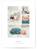 This is a white birth announcement by Rebecca Daublin called Quietly with standard printing on signature in standard.