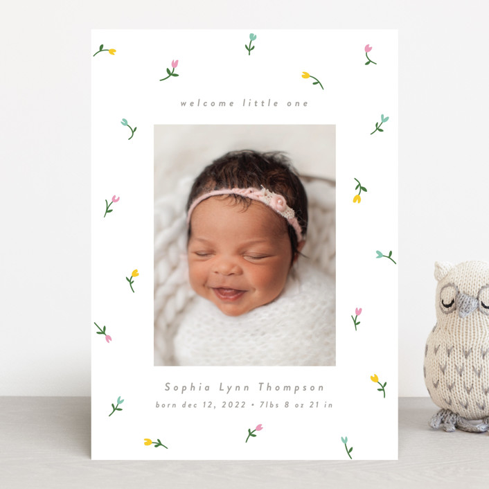 """""""Falling Tulips"""" - Preppy, Whimsical & Funny Birth Announcements in Puddle by Katie Zimpel."""