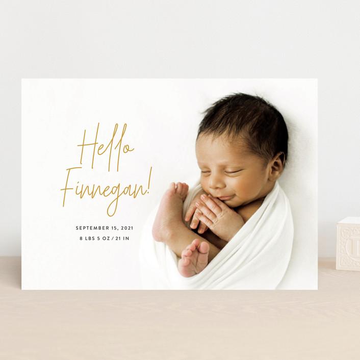 """Hello Everyone"" - Modern Birth Announcements in Mustard by Ashley Rosenbaum."