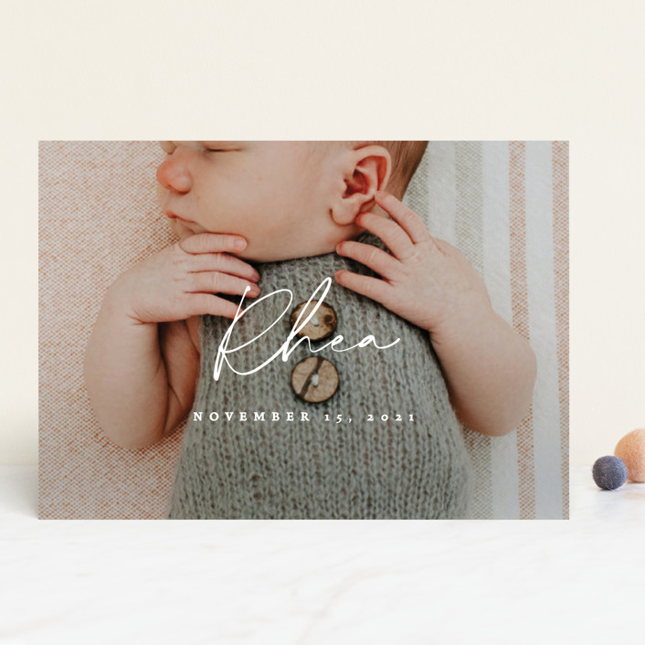 """""""Simplest"""" - Modern Birth Announcements in Petal by Rebecca Daublin."""