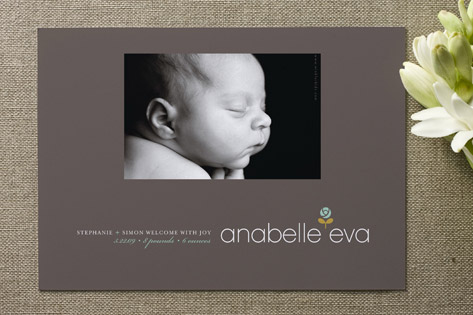 warm rosette Birth Announcements