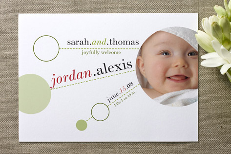 Whimsical Spheres and Dashes Birth Announcements