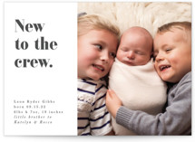 This is a grey birth announcement by Bonjour Berry called New to the crew with standard printing on smooth signature in standard.