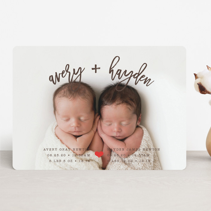 """Dashing Duo"" - Birth Announcements in Chocolate by Shirley Lin Schneider."