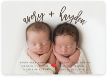 This is a brown birth announcement by Shirley Lin Schneider called Dashing Duo with standard printing on smooth signature in standard.