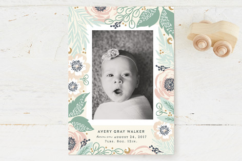 Framed with Florals Birth Announcements