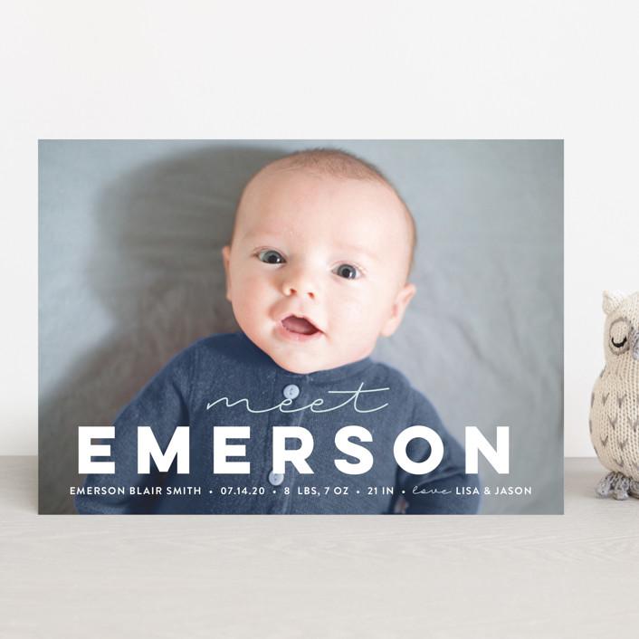"""meet me"" - Modern Birth Announcements in Cotton by Sara Hicks Malone."