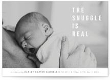This is a grey birth announcement by Up Up Creative called The Snuggle is Real with standard printing on smooth signature in standard.