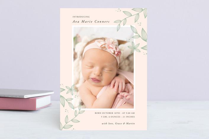 """Sweet Botanical"" - Birth Announcements in Ivory by Oma N. Ramkhelawan."