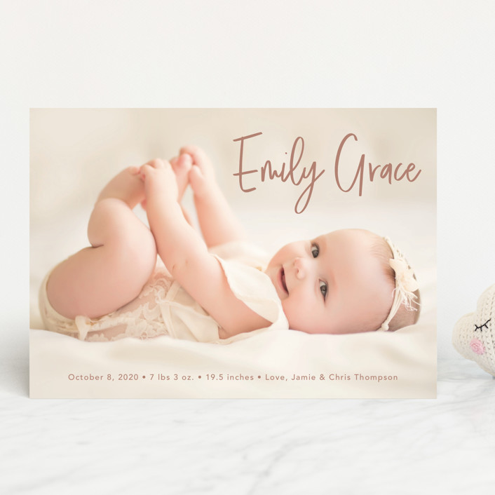 """""""Elegance in the name"""" - Modern Birth Announcements in Dusty Rose by Lorena Depante."""