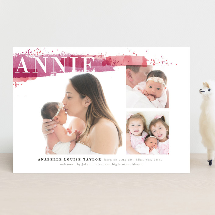 """""""Soft Splatter"""" - Birth Announcements in Peach by Alethea and Ruth."""