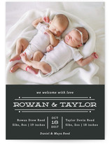 This is a black birth announcement by Olivia Raufman called Twin Lines with standard printing on smooth signature in standard.