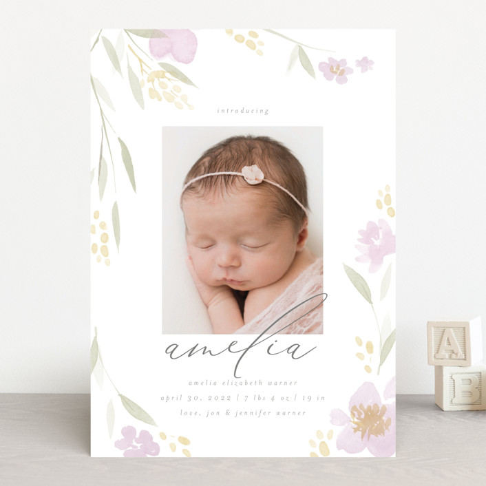 """Fresh Florals"" - Birth Announcements in Blush by Robert and Stella."