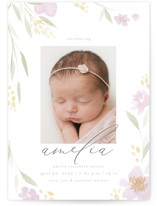 This is a purple birth announcement by Robert and Stella called Fresh Florals with standard printing on smooth signature in standard.