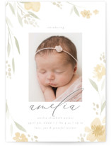 This is a yellow birth announcement by Robert and Stella called Fresh Florals with standard printing on smooth signature in standard.