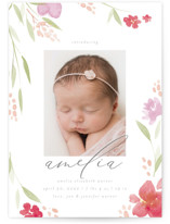 This is a red birth announcement by Robert and Stella called Fresh Florals with standard printing on smooth signature in standard.