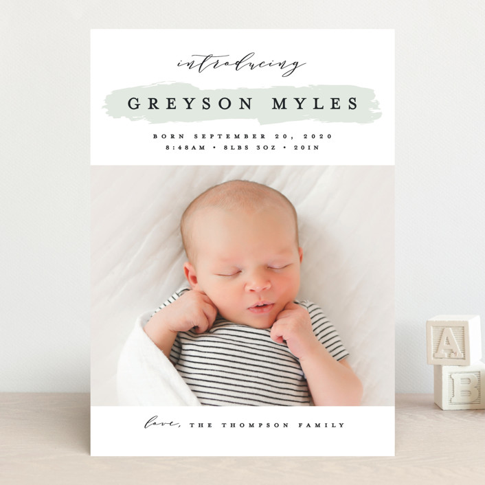 """Highlighted"" - Preppy Birth Announcements in Aqua by Michelle Taylor."