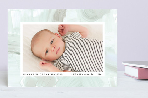 Subtle Abstract Birth Announcements