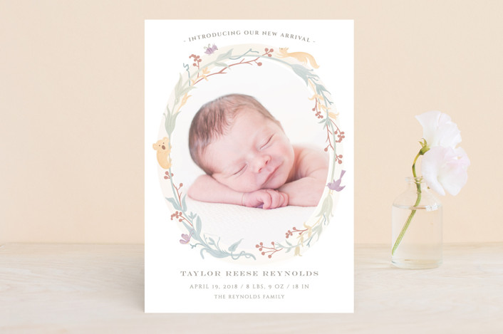 """""""Woodland Baby"""" - Birth Announcements in Plum by Ana de Sousa."""