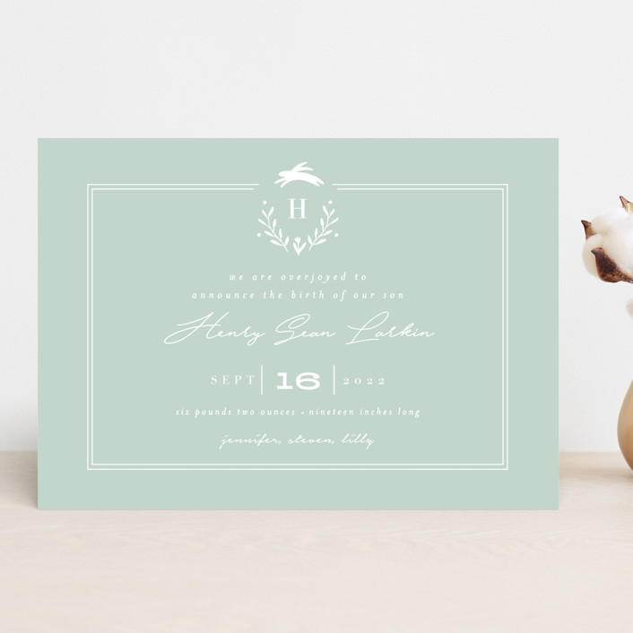 """""""Classic Baby Monogram"""" - Preppy Birth Announcements in Cobalt Blue by Susan Brown."""
