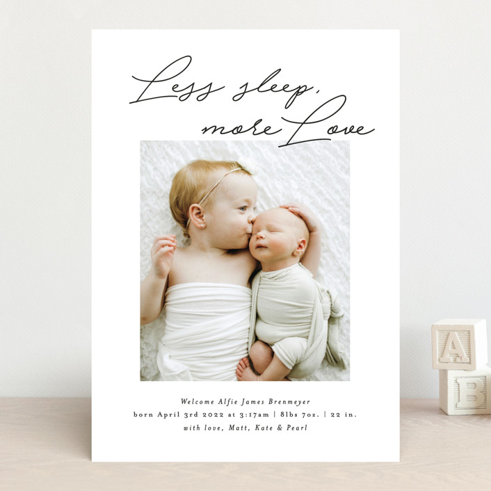 """""""Less Sleep, More Love"""" - Funny Birth Announcements in Imperial by Itsy Belle Studio."""