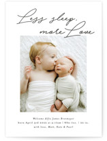 This is a black and white birth announcement by Itsy Belle Studio called Less Sleep, More Love with standard printing on smooth signature in standard.