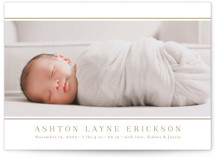 This is a brown birth announcement by Jessica Williams called Lined with standard printing on smooth signature in standard.