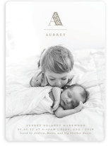 This is a brown birth announcement by Olivia Raufman called Deluxe Cap with standard printing on smooth signature in standard.