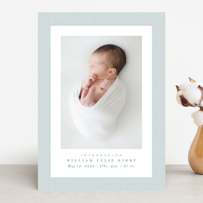 """Linen frame"" - Preppy Birth Announcements in Powder by Lea Delaveris."