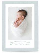 This is a blue birth announcement by Lea Delaveris called Linen frame with standard printing on smooth signature in standard.