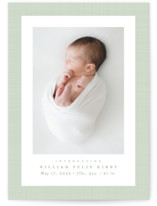 This is a green birth announcement by Lea Delaveris called Linen frame with standard printing on smooth signature in standard.