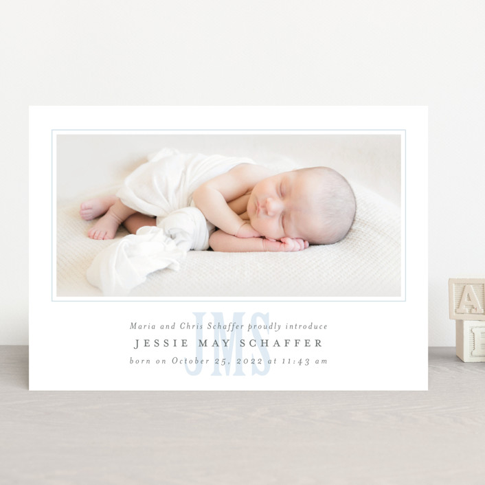 """""""Classic Monogram"""" - Preppy Birth Announcements in Sky by Fig and Cotton."""