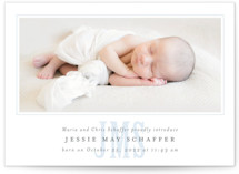 This is a blue birth announcement by Fig and Cotton called Classic Monogram with standard printing on smooth signature in standard.