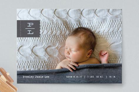 Monogram Tag Birth Announcements