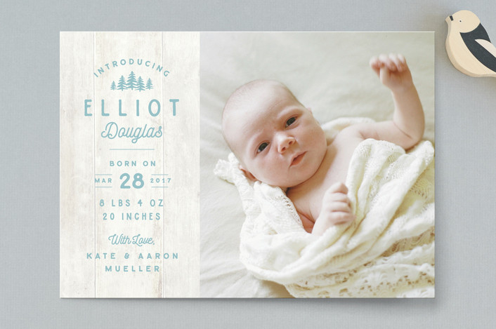 """""""Wood Carving"""" - Rustic Birth Announcements in Cobblestone by Jennifer Wick."""