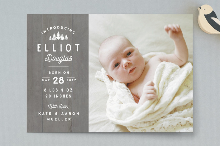 """Wood Carving"" - Rustic Birth Announcements in Cobblestone by Jennifer Wick."