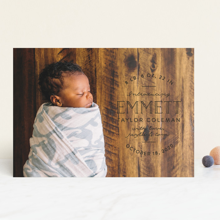 """Basic Intro"" - Rustic Birth Announcements in Linen by Pink House Press."