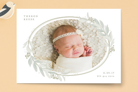 Lovely Wreath Birth Announcements