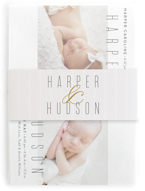 This is a brown birth announcement belly band by Jessica Williams called Double Ampersand with standard printing on signature text in belly band.