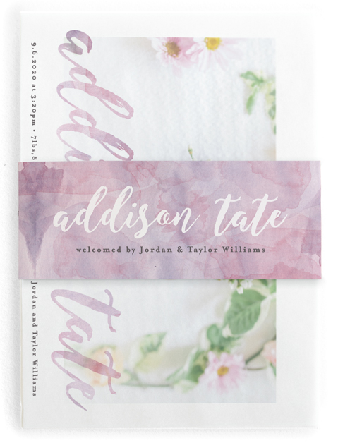 This is a purple birth announcement belly band by Olivia Raufman called Watercolor Script with standard printing on signature text in belly band.