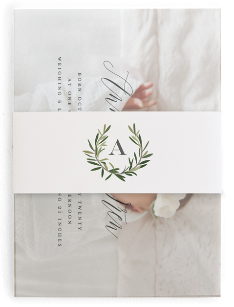 This is a green birth announcement belly band by Stacey Meacham called Rosemary sprig with standard printing on signature text in belly band.