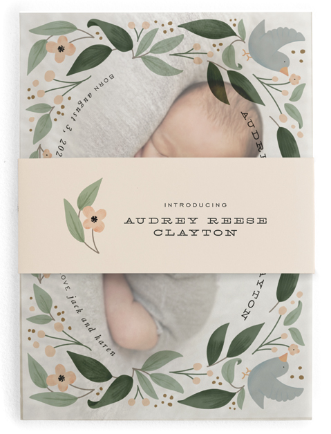 This is a green birth announcement belly band by Leah Bisch called little birdie with standard printing on signature text in belly band.