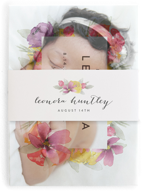 This is a pink birth announcement belly band by J. Dario Design Co. called Floral Welcome with standard printing on signature text in belly band.