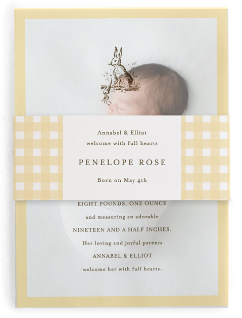 This is a yellow birth announcement belly band by Toast & Laurel called Classic Bunny with standard printing on signature text in belly band.