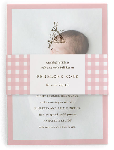 This is a pink birth announcement belly band by Toast & Laurel called Classic Bunny with standard printing on signature text in belly band.